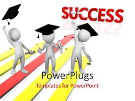 PowerPlugs: PowerPoint template with three 3D men with graduation hats on white background with colored arrows