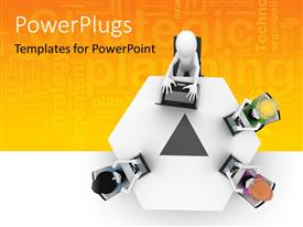 PowerPlugs: PowerPoint template with three 3D men with laptops over conference table