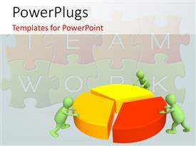 PowerPoint template displaying three 3d puppets making the round pie chart with teamwork puzzle in the background