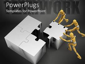 PowerPlugs: PowerPoint template with three 3D wooden men pushing final puzzle piece into appropriate position