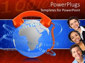 PowerPoint template displaying three adult heads sticking out with an earth and telephone