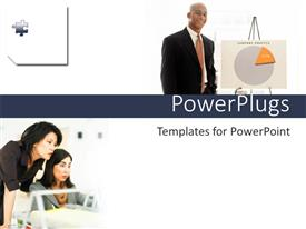 PowerPlugs: PowerPoint template with three adult humans in two different tiles with white background