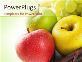 PowerPlugs: PowerPoint template with three apples of different colors, red, green and yellow