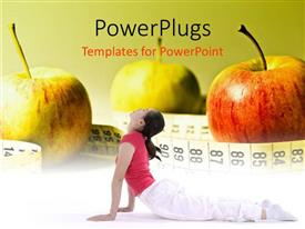 PowerPlugs: PowerPoint template with three apples with a measuring tape around then and a lady performing yoga