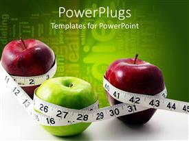 PowerPoint template displaying three apples with measuring tape and greenish background