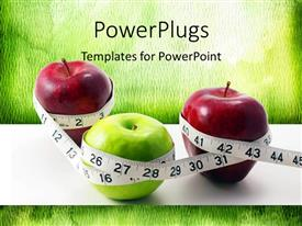 PowerPlugs: PowerPoint template with three apples with a measuring tape surrounding them all