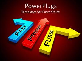 PowerPlugs: PowerPoint template with three arrows showing different paths to past, present and future