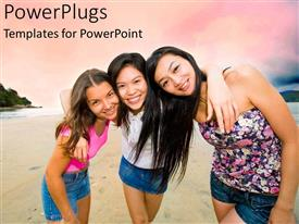 PowerPoint template displaying three beautiful girls on a beach