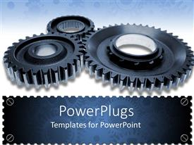 PowerPlugs: PowerPoint template with three black gears turning together on white background