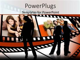 PowerPlugs: PowerPoint template with three black silhouettes looking at film rolls depicting young smiling people