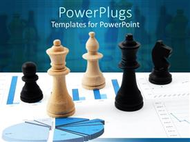 PowerPoint template displaying three black and two cream chess pieces on business chart