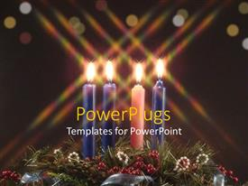 PowerPoint template displaying three blue candles and a pink one on some ornaments