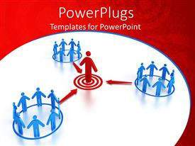 PowerPlugs: PowerPoint template with three blue circles with group of figures standing in each and red figure standing on red target with three red arrows pointing to red figure