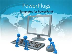 PowerPlugs: PowerPoint template with three blue colored 3D men with computer over world map