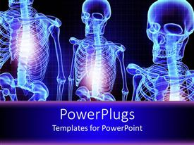 PowerPlugs: PowerPoint template with three blue shinning 3D human skeletons over a blue background