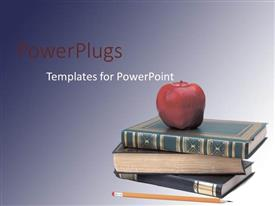 PowerPoint template displaying three books piled up with a red apple and a pencil