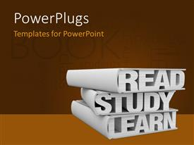 PowerPlugs: PowerPoint template with three books with the words: read study learn