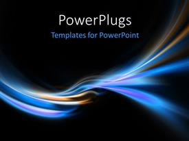 PowerPlugs: PowerPoint template with three bright blue glow header neon swoosh line abstract background