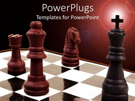 PowerPlugs: PowerPoint template with three brown chess pieces and a black one with a cross