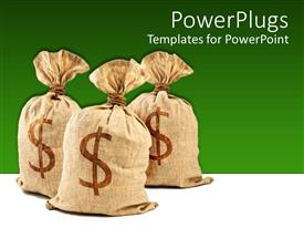 PowerPoint template displaying three brown money bags with dollar sign on green background