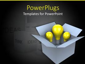 PowerPoint template displaying three bulbs in the box with grayish background