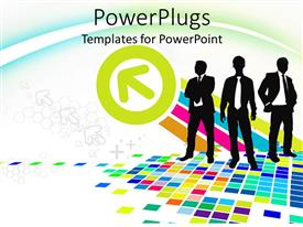 PowerPoint template displaying three business men and a green circled arrow on a colorful background