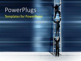 PowerPlugs: PowerPoint template with three business men trying to get to the top of a ladder