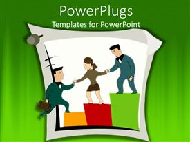 PowerPlugs: PowerPoint template with three business partners helping each other grow business growth