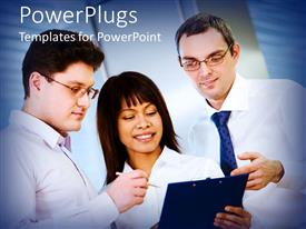 PowerPlugs: PowerPoint template with three business people having a discussion during a meeting