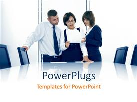 PowerPlugs: PowerPoint template with three business people interacting over document in conference room