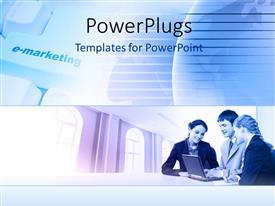 PowerPoint template displaying three business people with a laptop having a meeting