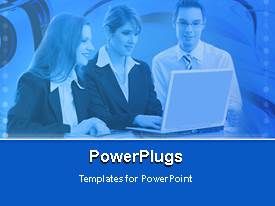 PowerPoint template displaying three business people operating a laptop on a blue background