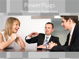 PowerPlugs: PowerPoint template with three business people sitting together and happily having a discussion