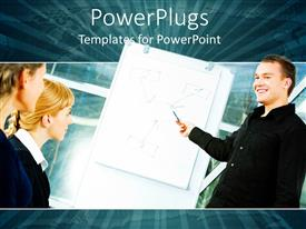 PowerPlugs: PowerPoint template with three business people smiling and having a business meeting