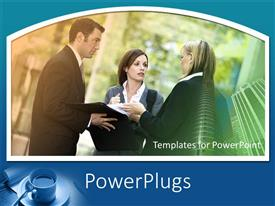 PowerPlugs: PowerPoint template with three business people standing and discussing having a meeting