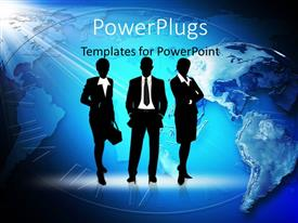 PowerPlugs: PowerPoint template with three business people standing over world map with clock in background
