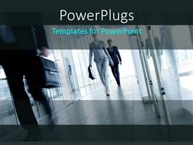 PowerPoint template displaying three business people walking fast down a hall way