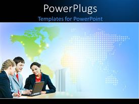 PowerPlugs: PowerPoint template with three business people with a world mp behind them