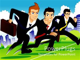 PowerPoint template displaying three cartoon businessmen running over the finish line with city view in the background