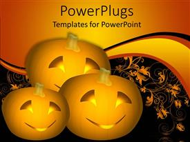 PowerPlugs: PowerPoint template with three carved pumpkins with smiling faces in black background
