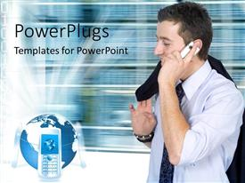 PowerPlugs: PowerPoint template with three cell phones resting on globe as business man makes phone call