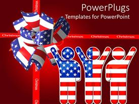 PowerPoint template displaying three characters an a ribbon colored with the American flag