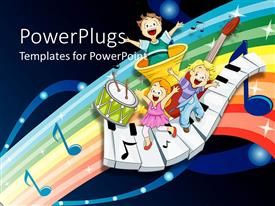 PowerPlugs: PowerPoint template with three children dancing and singing on musical instruments, piano keys, drum with two drumsticks, trumpet and music notes on glowing rainbow