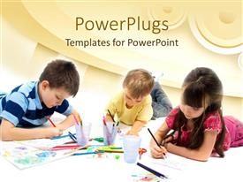 PowerPlugs: PowerPoint template with three children drawing with colored pencils, arts and crafts, school, art education