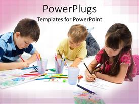 PowerPoint template displaying three children writing and drawing with colored pencils, school, art, learning, creativity, education, child care