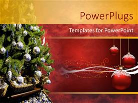 PowerPlugs: PowerPoint template with three christmas ornaments with decorated tree on blue background