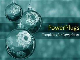 PowerPoint template displaying three christmas ornaments hanging with snowflakes falling