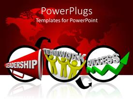 PowerPlugs: PowerPoint template with three circular tiles with text Leadership Teamwork and Success