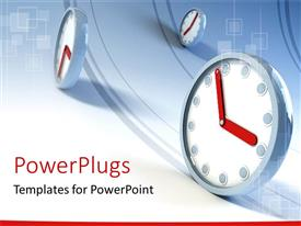 PowerPlugs: PowerPoint template with three clocks on waving lines depicting passing of time