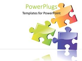 PowerPlugs: PowerPoint template with three color puzzle boards with white color